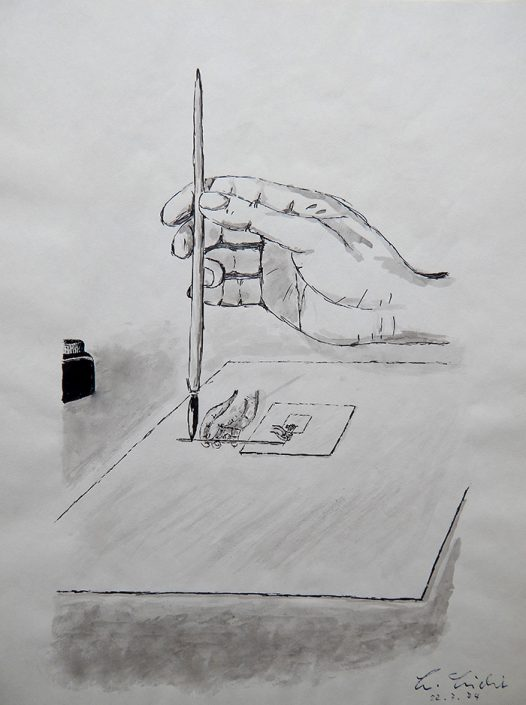 Sich zeichnende Hände (Aquarell) 1974