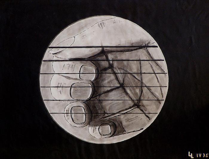 Die Perspektive des Holzwurms (Tusche Aquarell) 1975